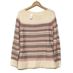 NWT Loft Eyelash Knit Striped Sweater